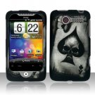 Hard Plastic Rubber Feel Design Case for HTC Wildfire 6225 - Ace of Spade Skull