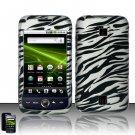 Hard Plastic Rubber Feel Design Case for Huawei Ascend M860 - Silver and Black Zebra