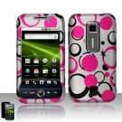 Hard Plastic Rubber Feel Design Case for Huawei Ascend M860 - Pink and Black Dots