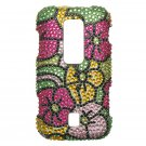 Hard Plastic Bling Rhinestone Design Case for Huawei Ascend M860 - Hawaiian Flowers