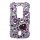 Hard Plastic Bling Rhinestone Design Case for Huawei Ascend M860 - Purple Hearts