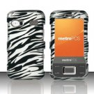 Hard Plastic Rubber Feel Design Case for Huawei M750 - Silver and Black Zebra