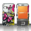Hard Plastic Rubber Feel Design Case for Huawei M750 - Silver Butterfly