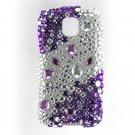 Hard Plastic Bling Rhinestone Design Case For LG Optimus M - Purple and Silver