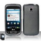 Hard Plastic Rubber Feel Design Case for LG Optimus T (T-Mobile) - Carbon Fiber