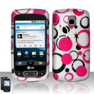 Hard Plastic Rubber Feel Design Case for LG Optimus T (T-Mobile) - Black and Pink Dots