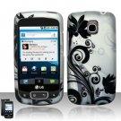 Hard Plastic Rubber Feel Design Case for LG Optimus T (T-Mobile) - Silver and Black Vines