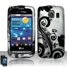 Hard Plastic Rubber Feel Design Case for LG Vortex VS660 - Black and Silver Vines
