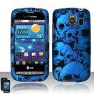 Hard Plastic Rubber Feel Design Case for LG Vortex VS660 - Blue Skulls