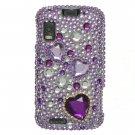 Hard Plastic Bling Rhinestone Design Case for Motorola Atrix 4G MB860 - Purple Heart