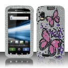 Hard Plastic Bling Rhinestone Design Case for Motorola Atrix 4G MB860 - Silver and Pink Butterfly