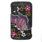 Hard Plastic Bling Rhinestone Design Case for Motorola Atrix 4G MB860 - Black Butterfly