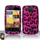 Hard Plastic Rubber Feel Design Case for Motorola Citrus WX445 - Hot Pink Leopard