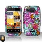 Hard Plastic Rubber Feel Design Case for Motorola Citrus WX445 - Purple and Blue Flowers