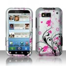 Hard Plastic Rubber Feel Design Case for Motorola Defy MB525 - Silver and Pink Flowers