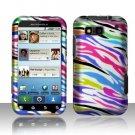 Hard Plastic Rubber Feel Design Case for Motorola Defy MB525 - Rainbow Zebra