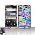 Hard Plastic Rubber Feel Design Case for Motorola Droid 2 A955 - Rainbow Zebra