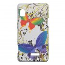 Hard Plastic Design Case for Motorola Droid 2 A955 - White Rainbow Butterfly