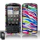 Hard Plastic Rubber Feel Design Case for Motorola Droid Pro T610 - Rainbow Zebra