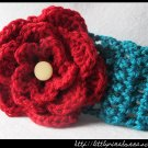 Crocheted teal headband with large red flower - for toddler