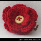 Crocheted flower clip - dark red