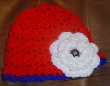 Big Rose RED Flapper Beanie Hat