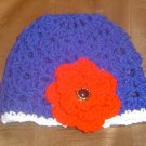Patriotic Big Rose Blue Flapper Beanie Hat
