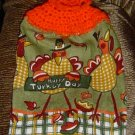 BUTTONLESS THANKSGIVING CROCHET TOPPED KITCHEN TOWEL