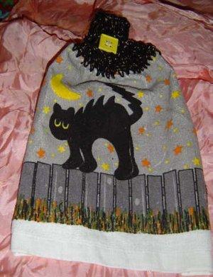 HALLOWEEN BLACK CAT ON FENCE Crochet top kitchen towel