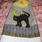 HALLOWEEN BLACKCAT ON FENCE Crochet top kitchen towel
