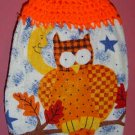 KNOB FALL OWL CROCHET TOPPED KITCHEN TOWEL