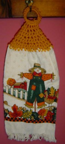 SCARECROW CROCHET TOPPED KITCHEN TOWEL