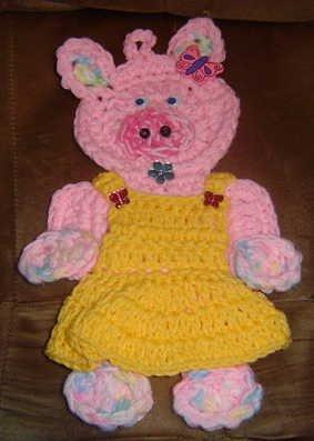 crochet MISS PIGGY potholder wallhanging