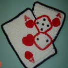 CASINO playing cards and dice crochet hanging