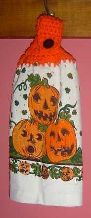 3 PUMPKIN Halloween CROCHET TOP towel