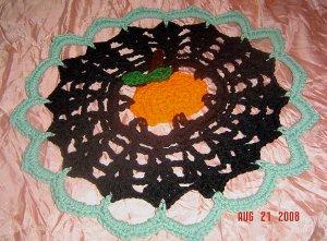 PUMPKIN IN THE MIDDLE crochet yarn doily