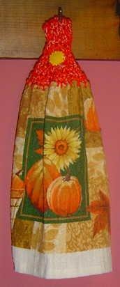 FALL/AUTUMN pumpkin/sunflower crochet TOP TOWEL