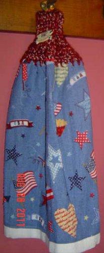 PATRIOTIC STARS AND FLAGS crochet top towel