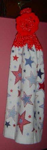 PATRIOTIC red white blue STARS crochet top towel