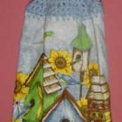 buttonless sunflower and BIRDHOUSE kitchen towel
