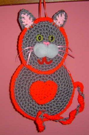 grey VALENTINE KITTY CAT crochet
