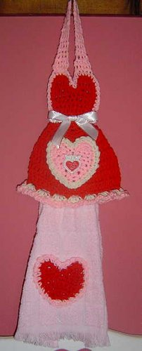 crochet VALENTINE DRESS towel holder