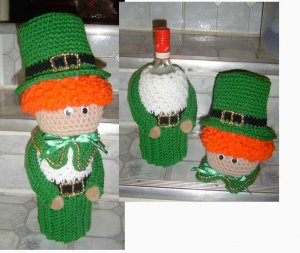 ST. PAT'S BOTTLE COVER leprechaun   SOLD - TAKING ORDERS