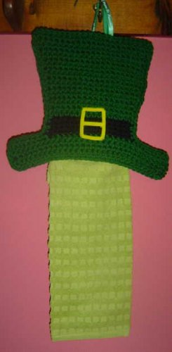 IRISH HAT crochet towel holder with towel