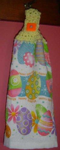 EASTER EGGS yellow crochet top kitchen towel