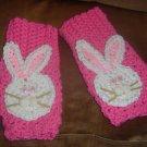 crochet EASTER FINGERLESS GLOVES-pink