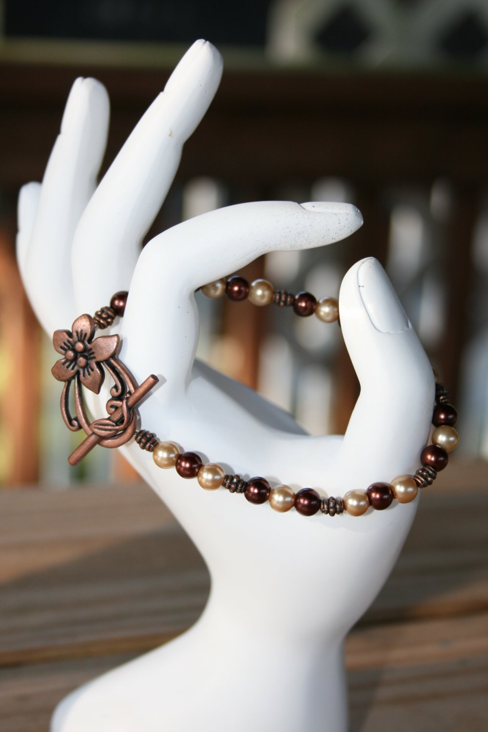 Copper Flower Clasp Bracelet