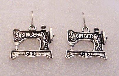 �Handmade Silver Singer Sewing Machine Earrings�
