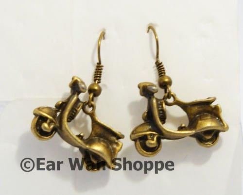 � Handmade Brass Vintage Motor Bike Rock Earrings�
