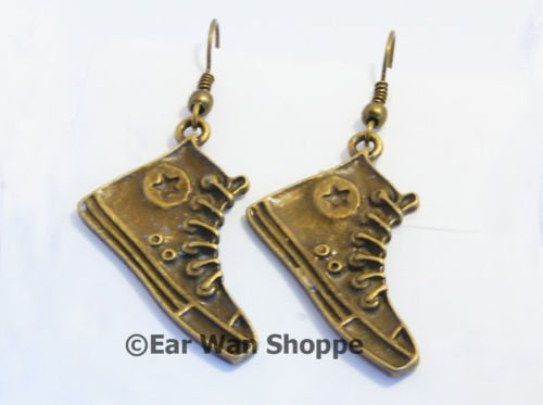 � Handmade Brass Converse Sneaker Star Drop Earrings�
